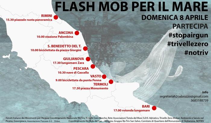 Trivelle nel mare Adriatico, domenica 8 aprile 8 flash-mob in 5 regioni